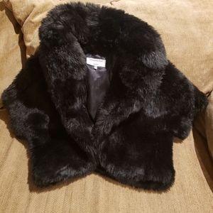 Faux Fur Black Shawl